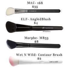DUPE ALERT We found THREE great alternatives for the @maccosmetics 168 Brush ($35) 1️⃣ @elfcosmetics Angled Brush ($4) (our personal favorite) 2️⃣ @morphebrushes MB35 ($8) perfect for a blended contour! And 3️⃣ @wetnwildbeauty Contour Brush ($2) Great quality for the price you pay! #dupeboss