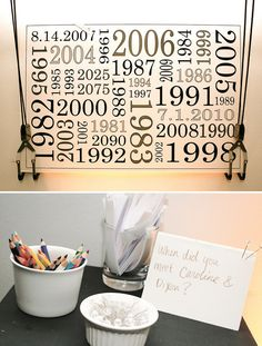 Fun game to play at engagement party. Have all guests write how/when they met you and attach to the poster with the corresponding year.