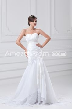 Wedding Dresses Trumpet/Mermaid Sweetheart Sleeveless Natural Lace-up Asymmetrical Taffeta/Tulle Sequins/Ruching/Pleats/Beading/Appliques