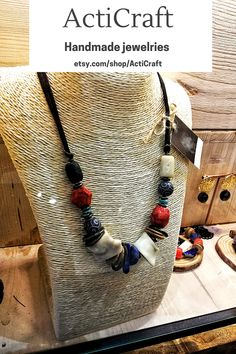 Handmade item Materials: Gemstone Style: Boho & hippie Closure: Tie Adjustable length: Yes Chain style: Bead Description ActiCraft - Crafting Your Curiosity! Beautiful perfect gemstone beaded necklace with different styles and different shapes of mineral and natural stones. The necklace is with bold and chunky beads, it is the adjustable length. Handmade Statement Necklace, Statement Necklaces, Gemstone Necklace, Handmade Necklaces, Gemstone Beads, Handmade Jewelry, Pendant Necklace, Charm Necklaces, Beaded Necklaces