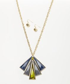 Look what I found on #zulily! Gold & Blue Triangle Pendant Necklace & Earrings #zulilyfinds