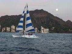 Diamond Head after sunset Waikiki Beach Oahu, Hawaii