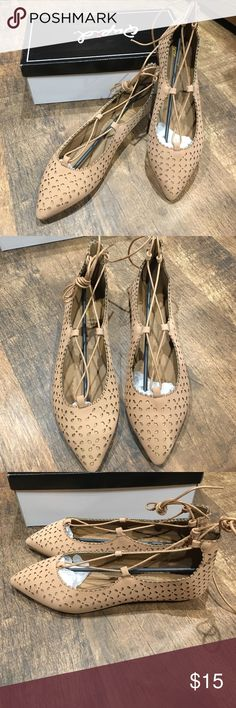 Blush flats NWT laser cut lace up flats. Qupid by Charlotte Russe Qupid Shoes Flats & Loafers