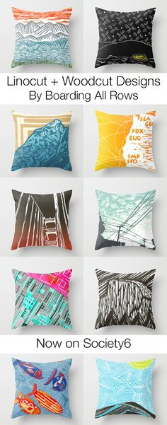 Linocut and woodcut designs now featured on pillows, tote bags, coffee mugs, clocks, stationary and other home decor. Many featuring California + West Coast styles. Yellow Pillows, Throw Pillows, Linoleum Block Printing, Linoprint, California Style, Linocut Prints, Cool Websites, Room Inspiration, Home Crafts