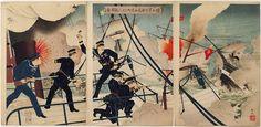 Japanese Color Woodblock Print Kabayama, the Head of the Naval Commanding Staff, on board Seikyōmaru, Attacks Enemy Ships by Adachi Ginkō, 1894.