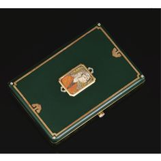 SILVER GILT, YELLOW GOLD, GREEN ENAMEL AND DIAMOND CIGARETTE CASE, CARTIER, CIRCA 1920