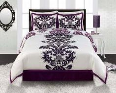 Beautiful comforter set. Purple, white and black in color