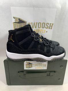 dcd09991f28683 Nike Air Jordan 11 XI Retro PRM Heiress Black Gold Size 9 Or 7.5Y  852625-030  Nike  BasketballShoes