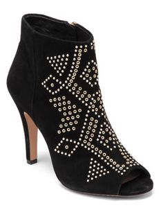 Vince Camuto Embellished Suede Peep Toe Ankle Boots