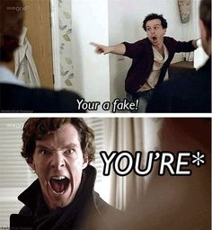 """Sherlock can HEAR grammar errors."" And that's our show, everyone. Sherlock Fandom, Sherlock Bbc, Sherlock Comic, Detective, Mrs Hudson, Up Book, 221b Baker Street, Johnlock, Martin Freeman"