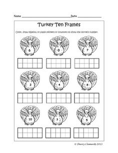 Ten Frames - Fall (apples, leaves, pumpkins, bats, and turkeys) (0-10) - Color, draw objects, or place stickers or counters on ten frames to show the correct number, and then color the fall pictures.