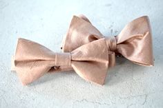 Rose Gold Bronze Raw Silk Bow Tie by BeauxAccessories on Etsy