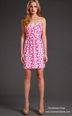 Pink and White Shoshanna dress, now available on KristinaRichards.com