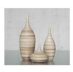 Small Set of 3 Striped Ceramic Stoneware Bottle by sarapaloma, $150.00