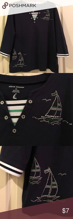 Nautical theme too with bling V neck top with striped blue and green inset and button detail at neck; 2 separate nautical details done in rhinestones; blue and white striping around sleeve bottoms Alfred Dunner Tops Blouses