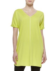 Joan Vass Long Cotton Interlock Tunic, Petite, Women's, Size: 4, Black
