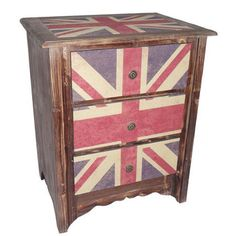 Cheungs Rattan Union Jack 3 Drawer Cabinet