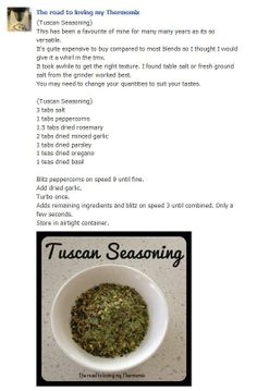 Home made Tuscan seasoning! No need to buy the store bought version again! Types Of Sauces, Spices, Homemade, Store, Cooking, Recipes, Food, Thermomix, Kitchen