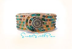 5 Row Multi Color Boho Cuff Bracelet, Blues, Greens, Browns, Tapestry Mix Czech Beads, Natural Leather, Handmade, 7 Inches, Free Shipping by SunsetSouthPaw on Etsy