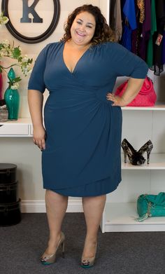 """Kiyonna's Wholesale Manager, Vannessa is looking gorgeous as usual in the Ciara Cocktail Dress. LOVE that she paired it with these nude pumps... though she does admit they weren't very easy on her feet.  Vannessa is 5'8"""" and wears a size 3x.  #plussize #kiyonna #KiyonnaPlusYou"""