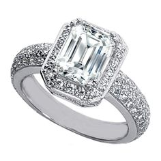 Engagement Ring - Emerald Cut Diamond Halo Vintage Engagement Ring with Etoil Band 1.16 tcw. In 14K White Gold - ES492