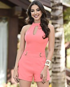 Pink romper dress for summer Sexy Dresses, Casual Dresses, Short Dresses, Casual Outfits, Fashion Outfits, Summer Dresses, Romper Dress, Cute Rompers, Chor