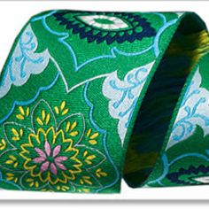 Amy Butler Ribbons - Brocade in Emerald and Blue