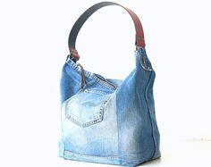 unieke handgemaakte jeans tas gemaakt van oude jeans! schoudertas met rits, canvas tas, schooltas, canvas tas, luiertas