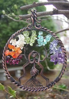 Chakra Goddess of Balance Tree of Life Wire Wrapped Pendant Jewelry