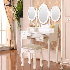 7 Drawers Vanity Set Makeup Dressing Table Desk w/Stool & 3 Folding Mirror White 699920934870 Air Makeup, Makeup Desk, Makeup Room Decor, Makeup Rooms, Makeup Stool, Makeup Tables, Dressing Table Desk, White Dressing Tables, Makeup Dressing Table