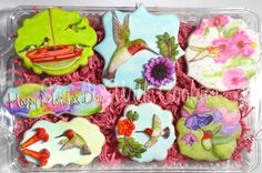 Hummingbird Cookies.  Hand decorated shortbread cookies.