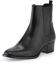 Saint Laurent Gored Leather Ankle Bootie, Black