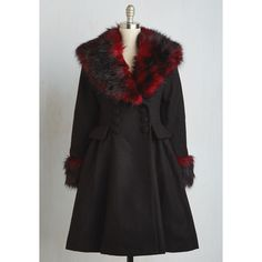 70s Long Make the Gradient Coat ($230) ❤ liked on Polyvore featuring outerwear, coats, apparel, black, fit & flare coat, a-line coat, black coat, polka dot coat, long black coat and faux coat