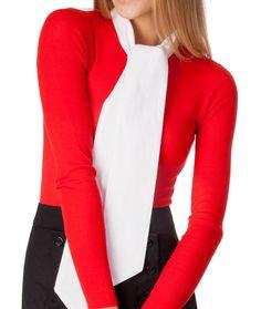 SkinnyShirt Bow Tie under red long sleeved shirt