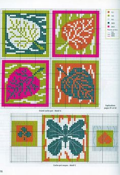 Colorful leaves pattern - This chart is a multi functional craft pattern. Uses include : cross stitch, crochet, knitting motifs, knotting, loom beading, Perler beading, weaving and tapestry design, pixel art, micro macrame, friendship bracelets, and anything involving the use of a charted pattern.