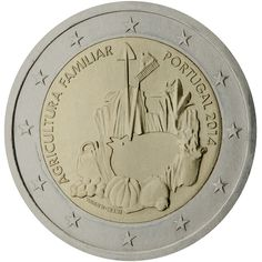 2014 Portugal commemorative €2 coin: The International Year of Family Farming. On the central part of the design are represented tools typically used in the traditional agriculture, together with farming products: a chicken in the center, surrounded by pumpkins, a basket of potatoes, and other vegetables and flowers. On the left side, in semi-circle, the subject of the commemoration 'AGRICULTURA FAMILIAR' (Family Farming). Mintage 500,000