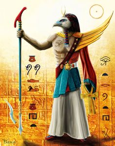 """Ra, Egyptian God of Sun, originator of the Ennead, consisting of Shu and Tefnut, Geb and Nut, Osiris, Set, Isis and Nephthys. Supreme creator of life."" This is an old version of the painting, for ..."