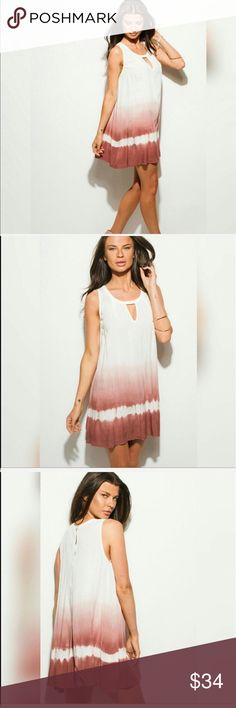 Chic ombré summer dress, rose/white, SML This tank dress is 100% rayon. It's fashionably loose fitting with a keyhole scoop neck. It's a lightweight, flowing material, which is perfect for hot summer days. It's got a button at the back of the neck, and the dress is accented with a beautiful dusty rose/white ombré. The length generally hits at the upper thigh. Feel free to comment below if you have any questions. Dresses