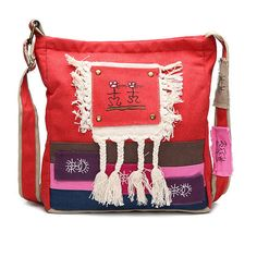 Chinese  Style Canvas Shoulder Bags Tribal National Style Crossbody... ($18) ❤ liked on Polyvore featuring bags, handbags, shoulder bags, tribal print purse, red crossbody purse, army shoulder bag, red handbags and canvas crossbody purse