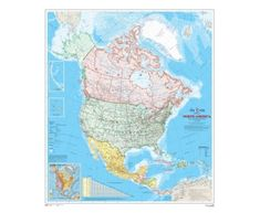 North American Map (English Version) : Great selection of unique and exclusive wallpaper murals. Our murals are prepasted, dry strippable and reusable. Wall Murals, Diagram, English, Map, Wallpaper, American, French, Cardinal Directions, Wall Maps