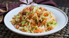 cabbage and bacon salad -- though the recipe makes slaw from scratch, I bet you could just as easily start with a packaged slaw mix and follow the rest of the recipe..........