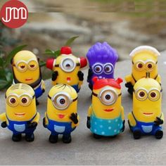 Find More Action & Toy Figures Information about New 8 PCS Minions Toy Despicable Me 2 Purple Minion PVC Figure Doll 3D Eye Model Puppet Kid…