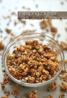 . vanilla almond butter protein granola . - . running with spoons .