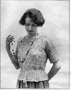 """Jumpers from """"Fancy Needlework Illustrated- The """"Hendon"""" knitted jumper with crocheted shoulders and crochet sleeve trimmings 1920s Outfits, Vintage Outfits, Vintage Fashion, Crochet Vintage, Vintage Knitting, Lace Knitting, Knitting Designs, Knitting Patterns, Knitting Charts"""