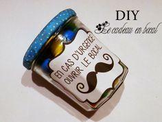 DIY cadeau en bocal, avec plusieurs étiquettes à télécharger selon les occasions (Fêtes de pères, St Valentin, Noël...)