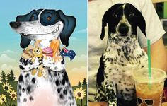 I Draw Pet Portraits Inspired By How Their Owners Describe Them   Bored Panda   Sammi, food obsessed and always dirty