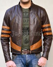 X-MEN 1 Origins Wolverine Brown Biker Leather Jacket Costume Cosplay Halloween