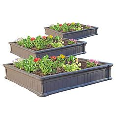 Amazon has the Lifetime 60069 Raised Garden Bed Kit, 4 by 4 Feet, Pack of 3 marked down from $163.41 to $139.98 with free shipping! 4′ x 4′ Raised garden kit easily assembles in less than 1 hour Constructed of UV-Protected High-Density Polyethylene (HDPE) – will not rot, crack or peel; Low maintenance weather-resistant design… Backyard Vegetable Gardens, Vegetable Garden Design, Small Garden Design, Outdoor Gardens, Deck Design, Raised Garden Bed Kits, Raised Beds, Garden Boxes, Garden Ideas