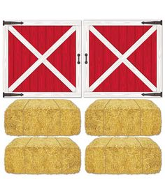 Barn Loft Door and Hay Bale Props Add-Ons : Use these Barn Loft Door and Hay Bale Props Add-Ons at your next barnyard bash - perfect for your next farm-themed party. Package includes hay bale add-ons cm x cm and barn loft door add-ons cm x cm. Farm Themed Party, Farm Party, Theme Parties, Party Themes, Open A Party, Loft Door, Farm Birthday, Birthday Ideas, Cowboy Birthday
