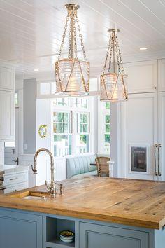 Kitchen island with reclaimed wood countertop and Visual Comfort Ralph Lauren Home Chatham Lantern Pendants #kicthenisland #pendants #islandlanterns #VisualComfort RalphLaurenHomeChathamLantern